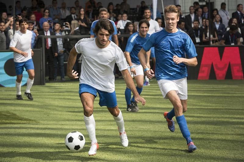 Carlos Sainz Jr., Scuderia Toro Rosso and Daniil Kvyat, Scuderia Toro Rosso performs during a soccer