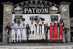 GTLM podium: winners Antonio Garcia, Jan Magnussen, Mike Rockenfeller, Corvette Racing, second place Joey Hand, Dirk Müller, Sébastien Bourdais, Ford Performance Chip Ganassi Racing, third place Toni Vilander, Giancarlo Fisichella, James Calado, Risi Compe