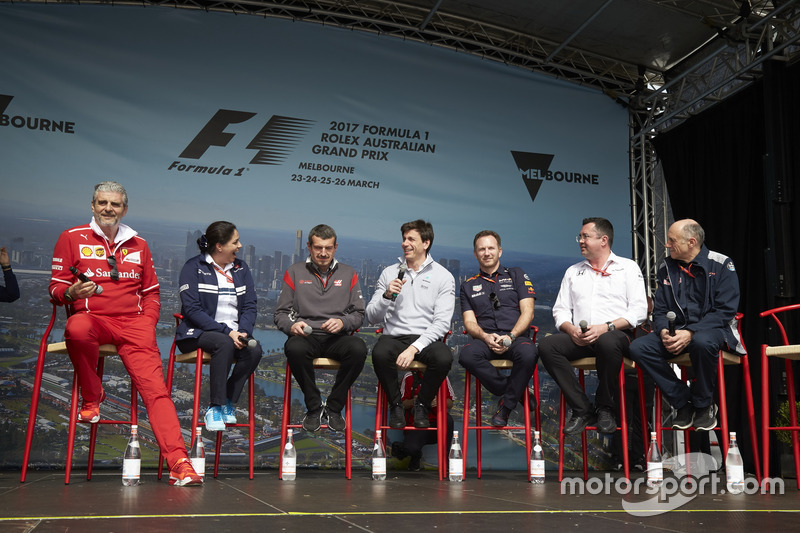 Maurizio Arrivabene, Ferrari, Monisha Kaltenborn, Sauber, Guenther Steiner, Haas F1 Team, Toto Wolff, Mercedes AMG, Christian Horner, Red Bull Racing, Eric Boullier, McLaren, Franz Tost, Scuderia Toro Rosso, y Cyril Abiteboul, Renault Sport F1, Franz Tost, Scuderia Toro Rosso.
