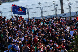 Fans and a Red Bull Racing RB13 flag for Daniel Ricciardo, Red Bull Racing