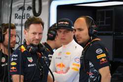 Christian Horner, Red Bull Racing Team Principal, Max Verstappen, Red Bull Racing and Gianpiero Lambiase, Red Bull Racing Race Engineer