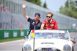 Max Verstappen, Red Bull, Sebastian Vettel, Ferrari, in the drivers parade
