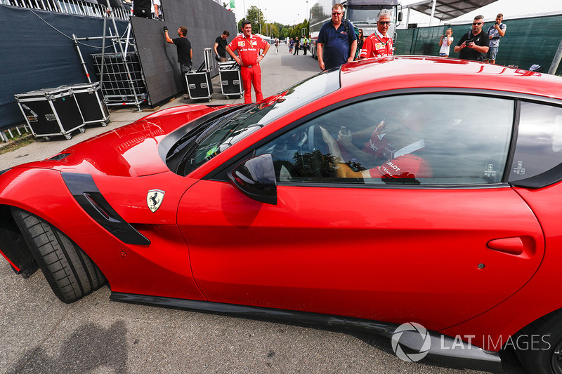 Sebastian Vettel, Ferrari, arrives at the circuit