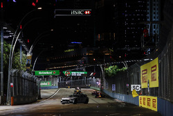 The Safety Car leads Lewis Hamilton, Mercedes AMG F1 W08, Daniel Ricciardo, Red Bull Racing RB13, the rest of the field