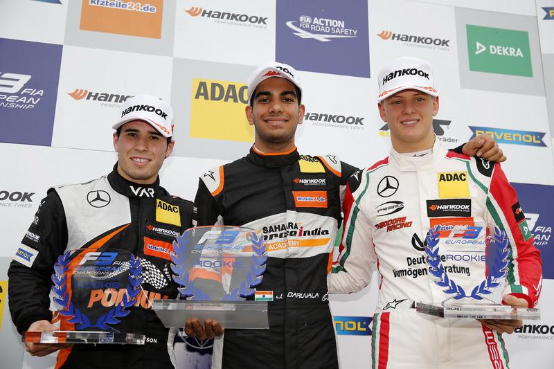 Rookie Podium: Winner Jehan Daruvala, Carlin, Dallara F317 - Volkswagen , second place Joey Mawson, Van Amersfoort Racing, Dallara F317 - Mercedes-Benz, third place Mick Schumacher, Prema Powerteam, Dallara F317 - Mercedes-Benz