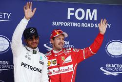 Polesitter Lewis Hamilton, Mercedes AMG F1, Sebastian Vettel, Ferrari