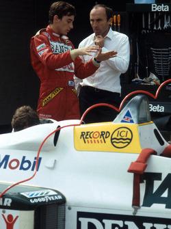 Первые тесты Сенны в Ф1 за рулем Williams FW08C: Айртон Сенна и Фрэнк Уильямс