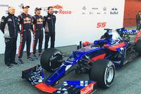 L to R): Franz Tost, Scuderia Toro Rosso Team Principal; Daniil Kvyat, Scuderia Toro Rosso; Carlos Sainz Jr., Scuderia Toro Rosso; James Key, Scuderia Toro Rosso Technical Director