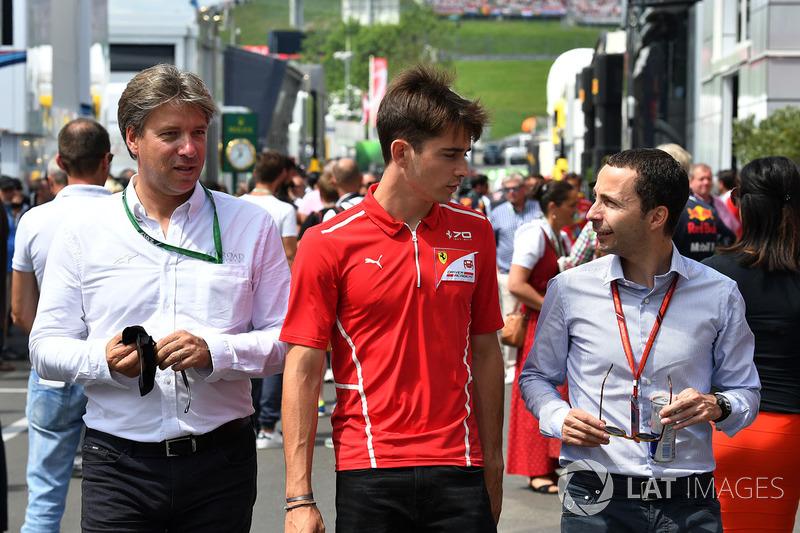 Charles Leclerc, Prema Racing; Nicolas Todt, Manager
