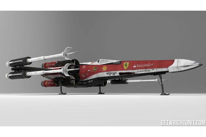 Star Wars X-Wing con la decoración de Ferrari