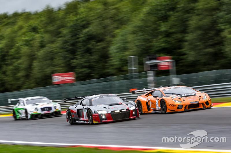 #1 Audi Sport Team WRT Audi R8 LMS: Antonio Garcia, Nico Müller, René Rast, #27 Orange 1 Team Lazarus Lamborghini Huracan GT3: Nicolas Pohler, Fabrizio Crestani, Luca Filippi