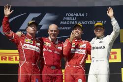 Podium: race winner Sebastian Vettel, Ferrari, second place Kimi Raikkonen, Ferrari, third place Valtteri Bottas, Mercedes AMG F1, Jock Clear, Engineering Director, Ferrari