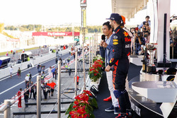 Takuma Sato interviews Third place Daniel Ricciardo, Red Bull Racing, Race winner Lewis Hamilton, Mercedes AMG F1, Max Verstappen, Red Bull, second place, on the podium