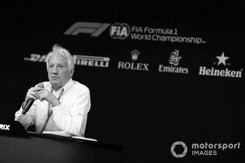 Charlie Whiting, Race Director, FIA, speaks at the Thursday FIA Press Conference