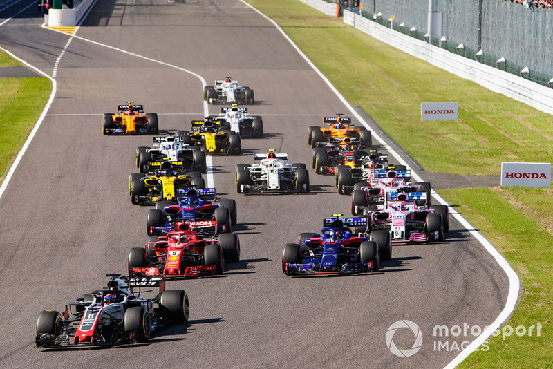 Romain Grosjean, Haas F1 Team VF-18, Sebastian Vettel, Ferrari SF71H, Pierre Gasly, Scuderia Toro Rosso STR13, Brendon Hartley, Toro Rosso STR13, Sergio Perez, Racing Point Force India VJM11,