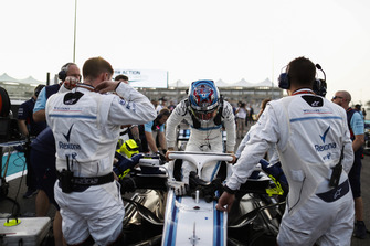 Sergey Sirotkin, Williams Racing, climbs out of his car on the grid
