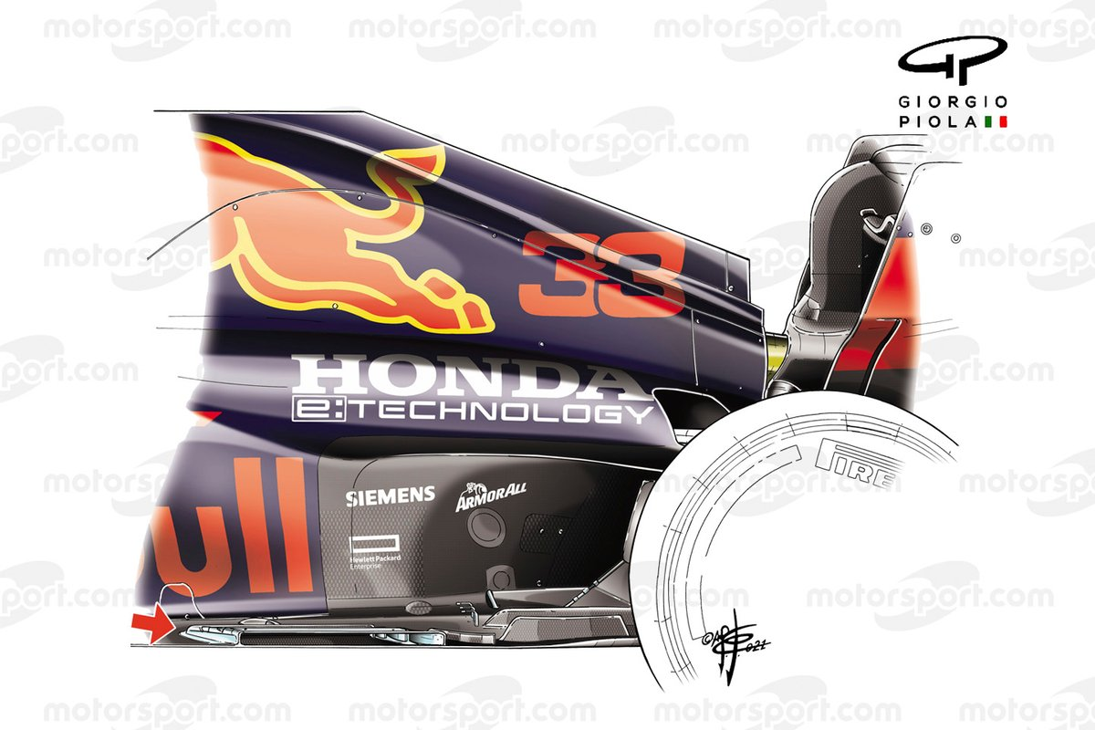 The new floor of the Red Bull Racing RB16B