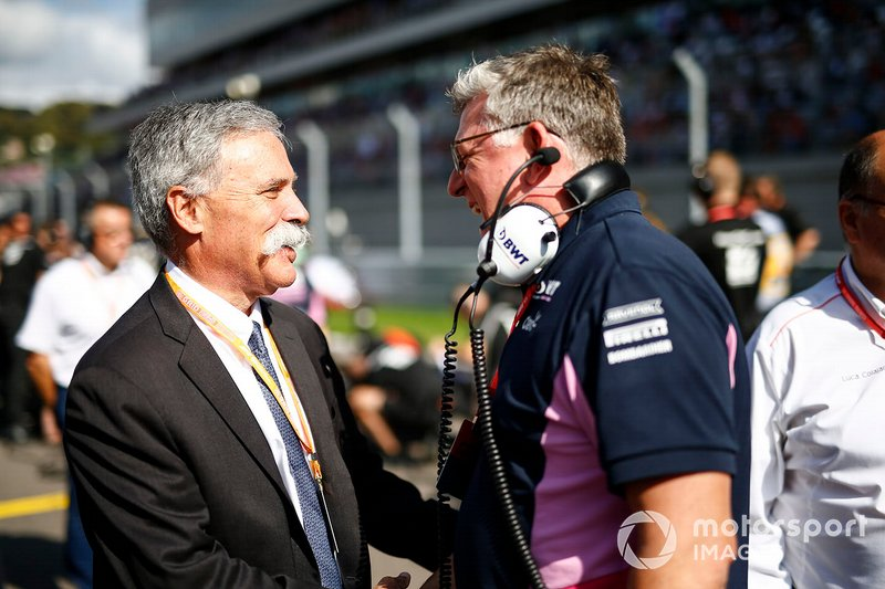 Chase Carey, Chairman, Formula 1, and Otmar Szafnauer, Team Principal and CEO, Racing Point