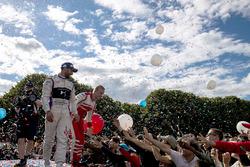 Jose Maria Lopez, DS Virgin Racing, and Felix Rosenqvist, Mahindra Racing, on the podium