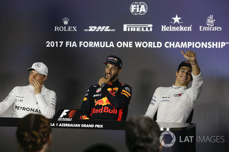 Valtteri Bottas, Mercedes AMG F1 Daniel Ricciardo, Red Bull Racing y Lance Stroll, Williams