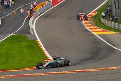 Lewis Hamilton, Mercedes-Benz F1 W08  leads Sebastian Vettel, Ferrari SF70H