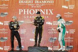 Podium: second place Will Power, Team Penske Chevrolet, race winner Simon Pagenaud, Team Penske Chevrolet, third place J.R. Hildebrand, Ed Carpenter Racing Chevrolet