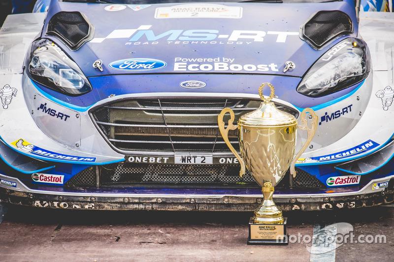 The car of Ott Tänak, Martin Järveoja, Ford Fiesta WRC, M-Sport with the trophy