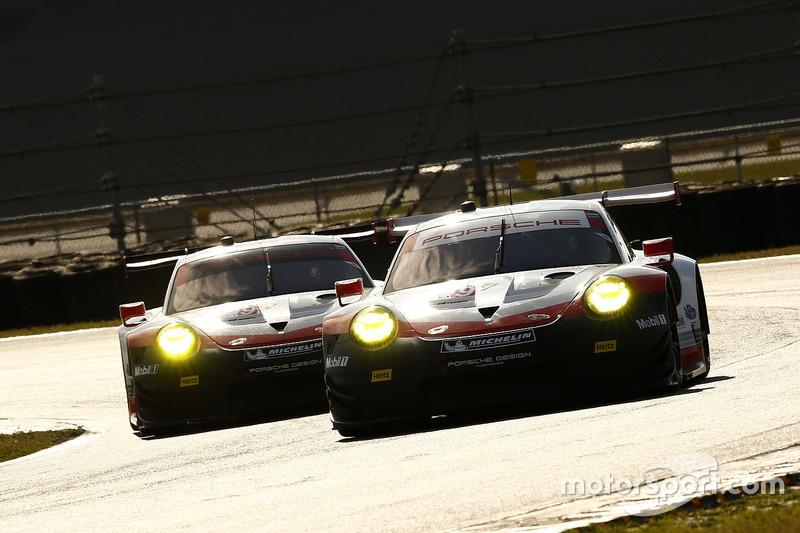 #911 Porsche Team North America Porsche 911 RSR: Patrick Pilet, Dirk Werner, Frederic Wakowiecki, #912 Porsche Team North America Porsche 911 RSR: Kevin Estre, Laurens Vanthoor, Richard Lietz