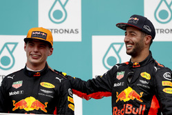 Max Verstappen, Red Bull Racing, race winner, Third place Daniel Ricciardo, Red Bull Racing, on the
