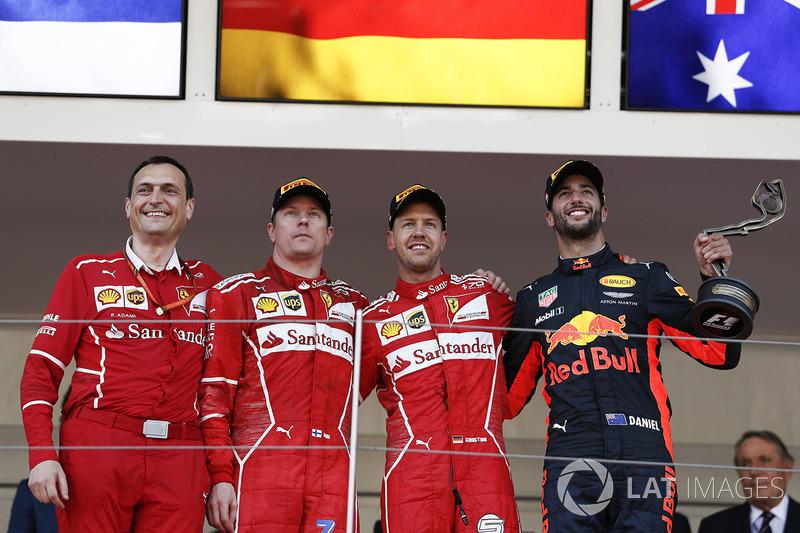 Monaco GP - Podium: Sebastian Vettel, 2. Kimi Raikkonen, 3. Daniel Ricciardo