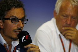 Laurent Mekies, F1 Deputy Race Director, FIA, Charlie Whiting, FIA Race Director, host a press conference about the introduction of the halo