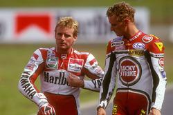 Wayne Rainey, Yamaha; Kevin Schwantz, Suzuki