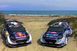 Автомобили Ford Fiesta WRC Себастьена Ожье с Жюльеном Инграссиа, и Отта Тянака с Мартином Ярвеоей, M-Sport