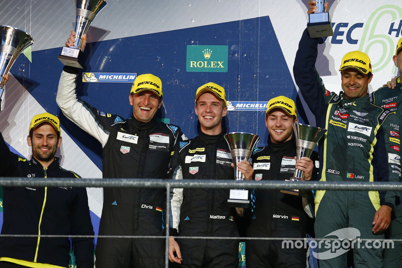 Podium LMGTE Am: second place Christian Ried, Matteo Cairoli, Marvin Dienst, Dempsey Proton Competition