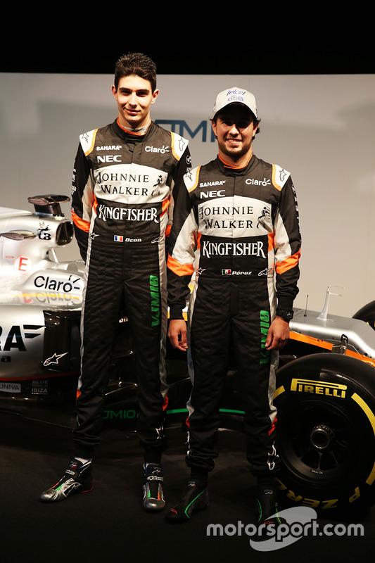 Esteban Ocon, Sahara Force India F1 Team; Sergio Perez, Sahara Force India F1 Team