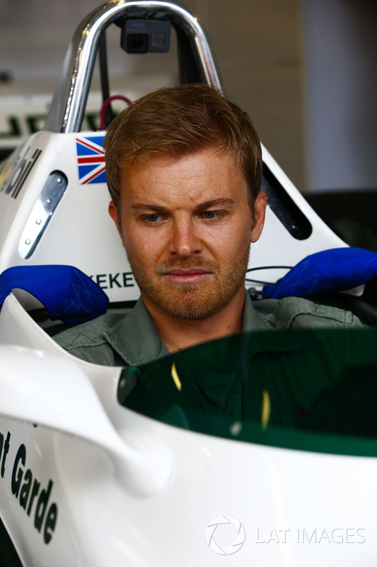 Nico Rosberg sits in a 1982 Williams FW08 Cosworth