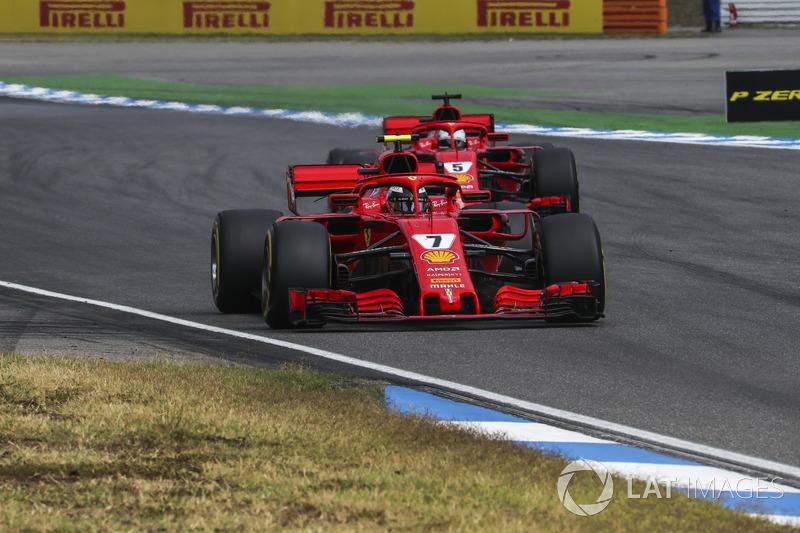 Kimi Raikkonen, Ferrari SF71H and Sebastian Vettel, Ferrari SF71H