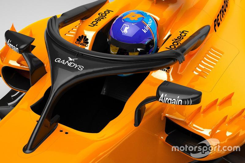 El Halo del McLaren MCL33 con el logo de Gandys
