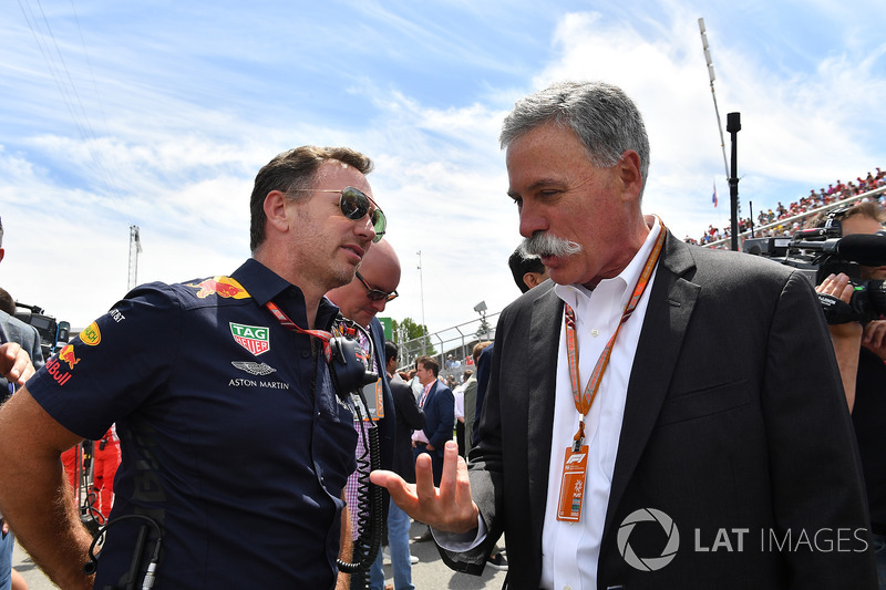 Christian Horner, Red Bull Racing Team Principal and Chase Carey, Chief Executive Officer and Executive Chairman of the Formula One Group on the grid on the grid