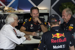 Bernie Ecclestone, in meeting with Christian Horner, Red Bull Racing Team Principal, Max Verstappen, Red Bull Racing and Dr Helmut Marko, Red Bull Motorsport Consultant