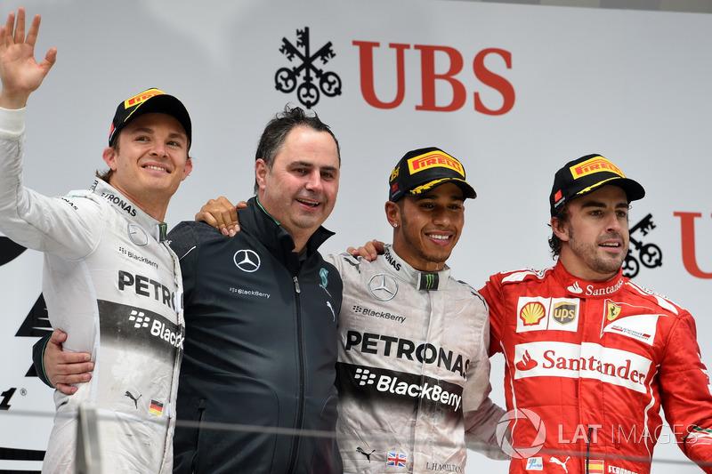 2014.Подіум: 1. Льюіс Хемілтон, Mercedes. 2. Ніко Росберг, Mercedes. 3. Фернандо Алонсо, Ferrari