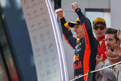Max Verstappen, Red Bull Racing, 1st position, arrives on the podium