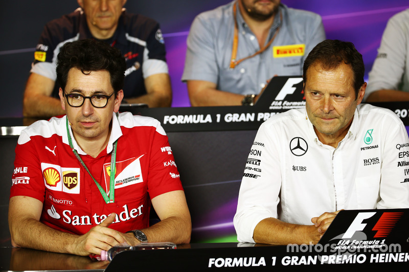 (L to R): Mattia Binotto, Ferrari Chief Technical Officer with Aldo Costa, Mercedes AMG F1 Engineering Director in the FIA Press Conference