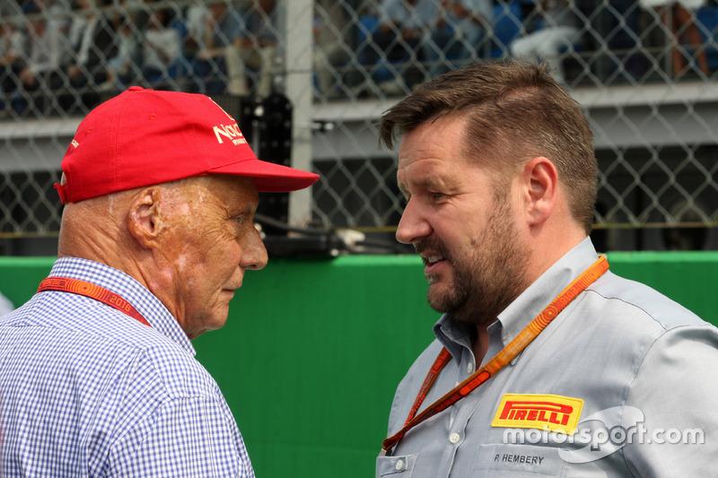 (L to R): Niki Lauda, Mercedes Non-Executive Chairman with Paul Hembery, Pirelli Motorsport Director