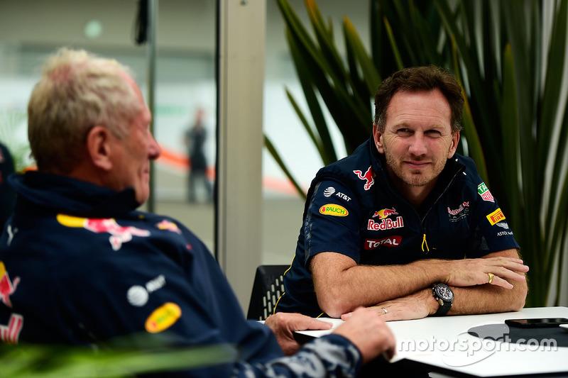 Dr Helmut Marko, Red Bull, Motorsportberater; Christian Horner, Red Bull Racing, Teamchef
