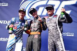 Podium: winner Brian Deegan, Ford, second place Scott Speed, Andretti Autosport, third place Patrik