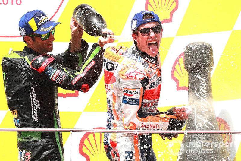 Podium: Pemenang balapan, Marc Marquez, Repsol Honda Team, finis ketiga, Johann Zarco, Monster Yamaha Tech 3