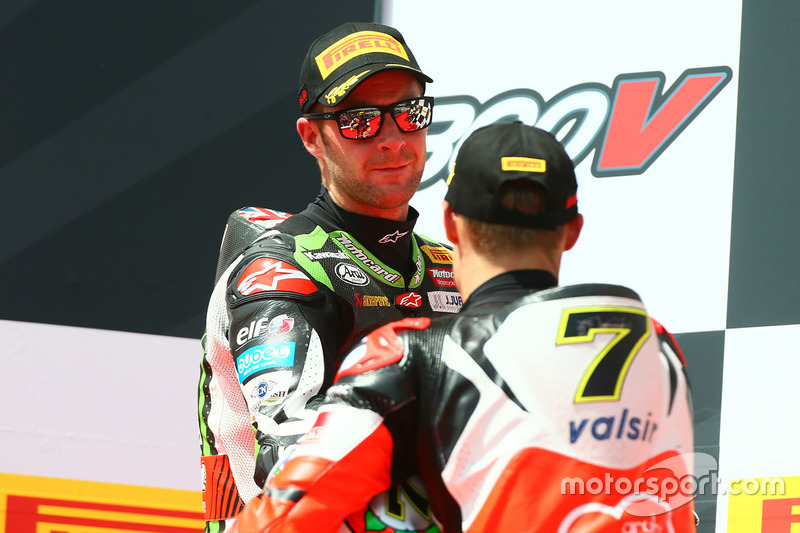 Podium: race winner Chaz Davies, Ducati Team, second place Jonathan Rea, Kawasaki Racing