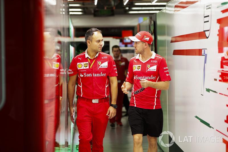 Sebastian Vettel, Ferrari inside the garage
