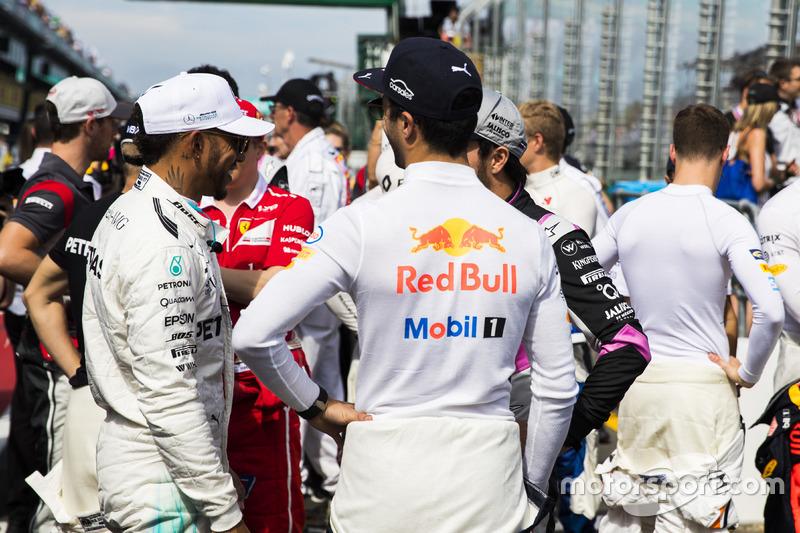 Lewis Hamilton, Mercedes AMG, Kimi Raikkonen, Ferrari, Daniel Ricciardo, Red Bull Racing, Sergio Pérez, Force India